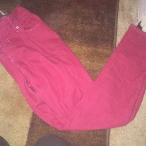 These red jeans are soft and comfortable.